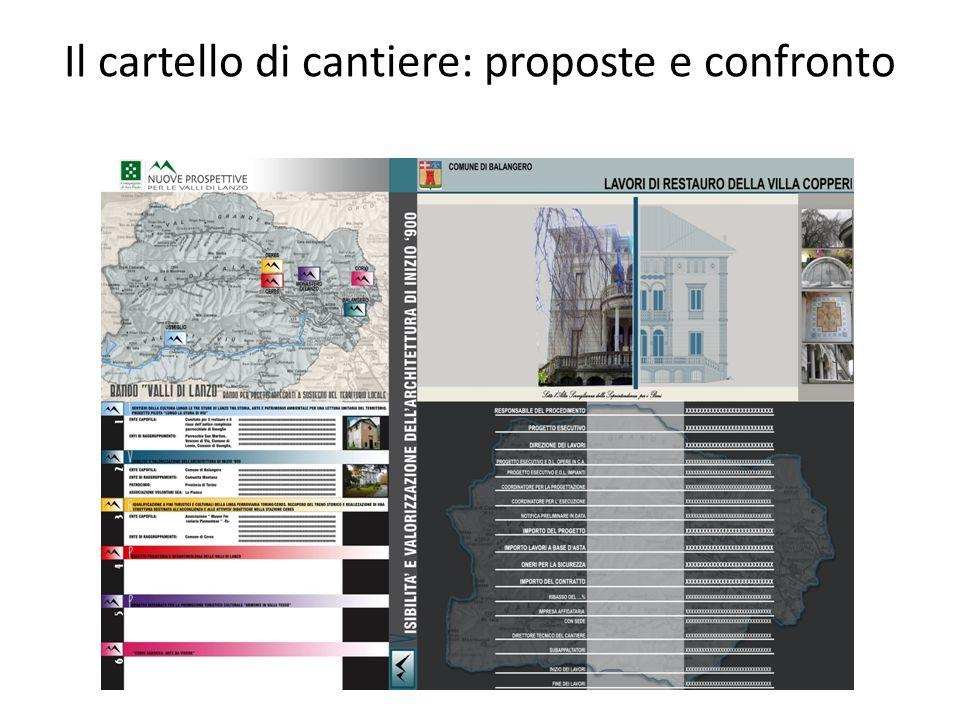 Il cartello di cantiere: proposte e confronto