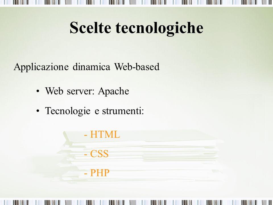Scelte tecnologiche Applicazione dinamica Web-based - HTML - CSS - PHP