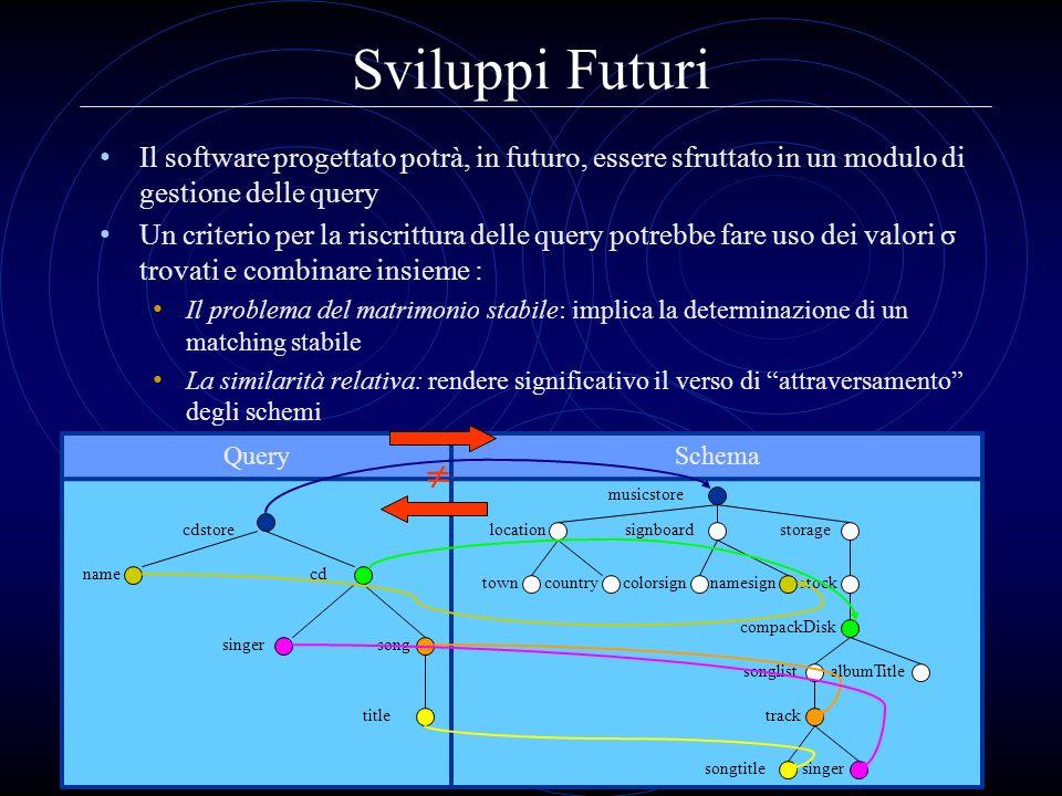 Sviluppi Futuri Il software progettato potrà, in futuro, essere sfruttato in un modulo di gestione delle query.