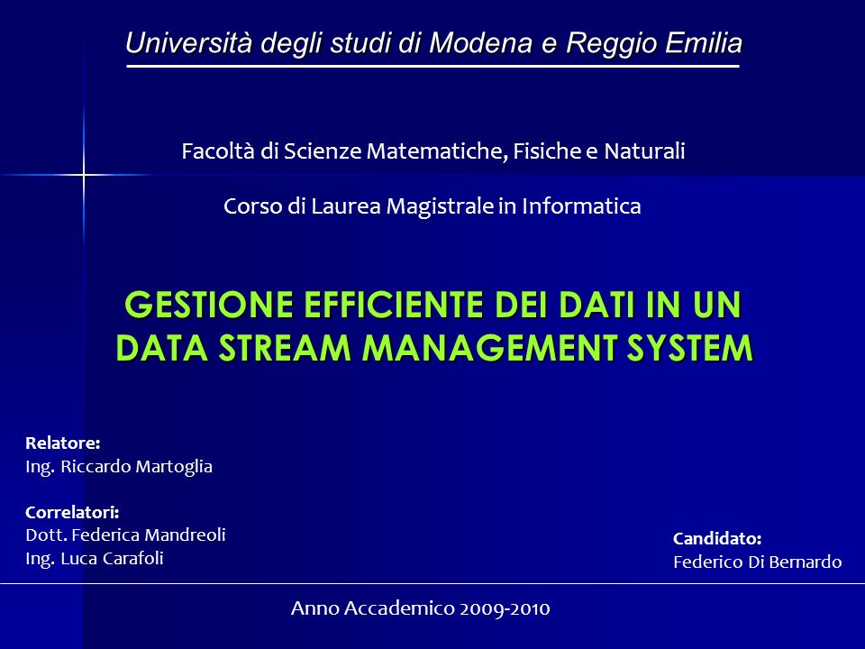 GESTIONE EFFICIENTE DEI DATI IN UN DATA STREAM MANAGEMENT SYSTEM