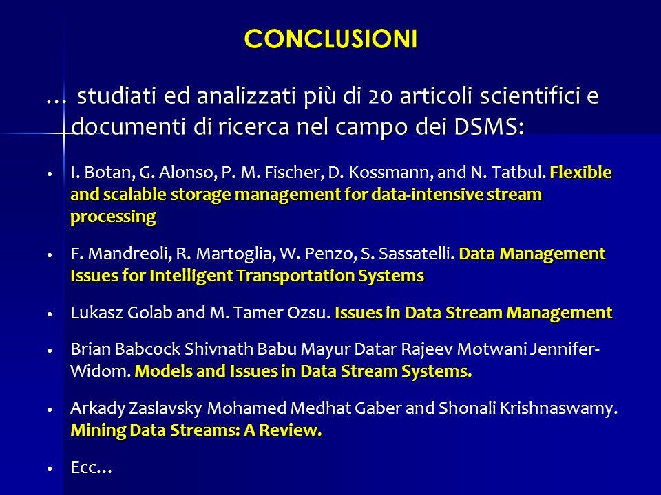 CONCLUSIONI … studiati ed analizzati più di 20 articoli scientifici e documenti di ricerca nel campo dei DSMS: