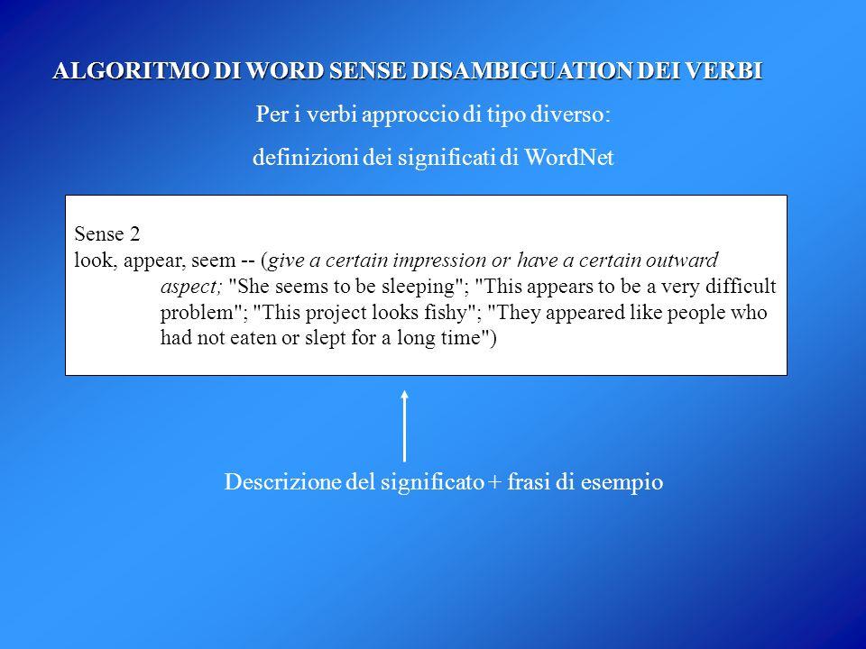 ALGORITMO DI WORD SENSE DISAMBIGUATION DEI VERBI