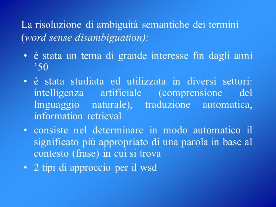 La risoluzione di ambiguità semantiche dei termini (word sense disambiguation):