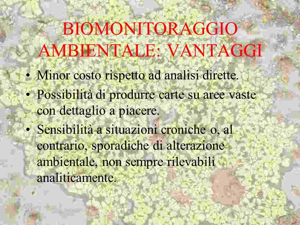 BIOMONITORAGGIO AMBIENTALE: VANTAGGI