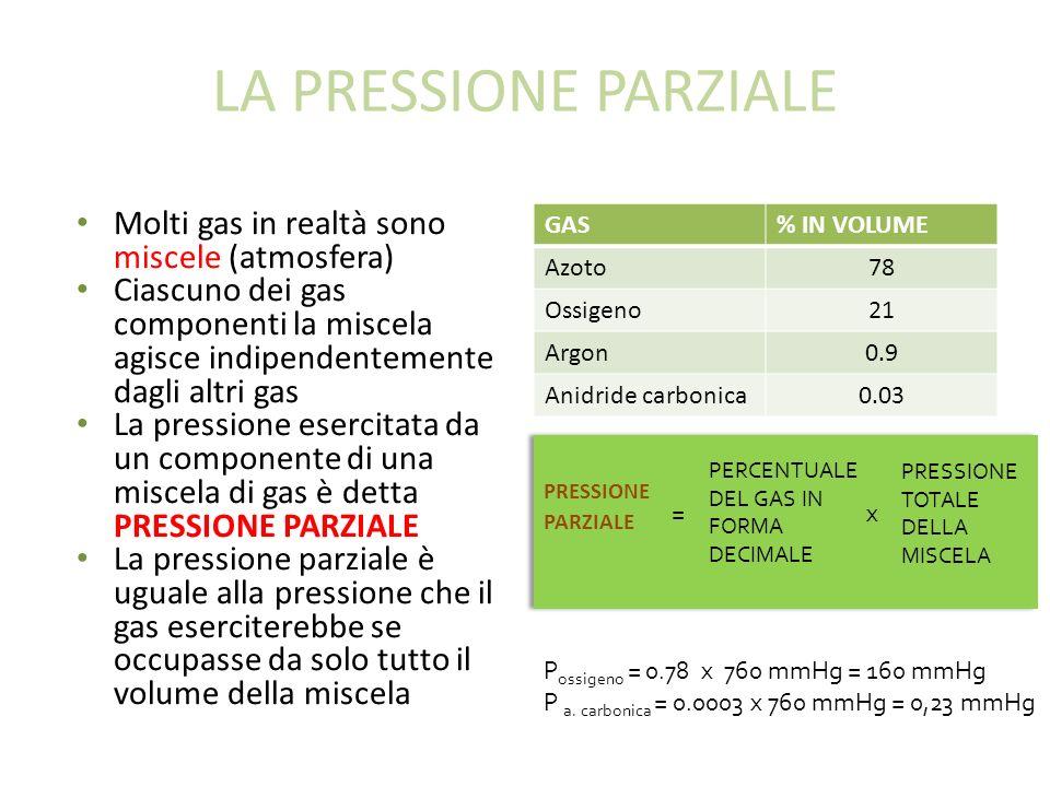 LA PRESSIONE PARZIALE Molti gas in realtà sono miscele (atmosfera)