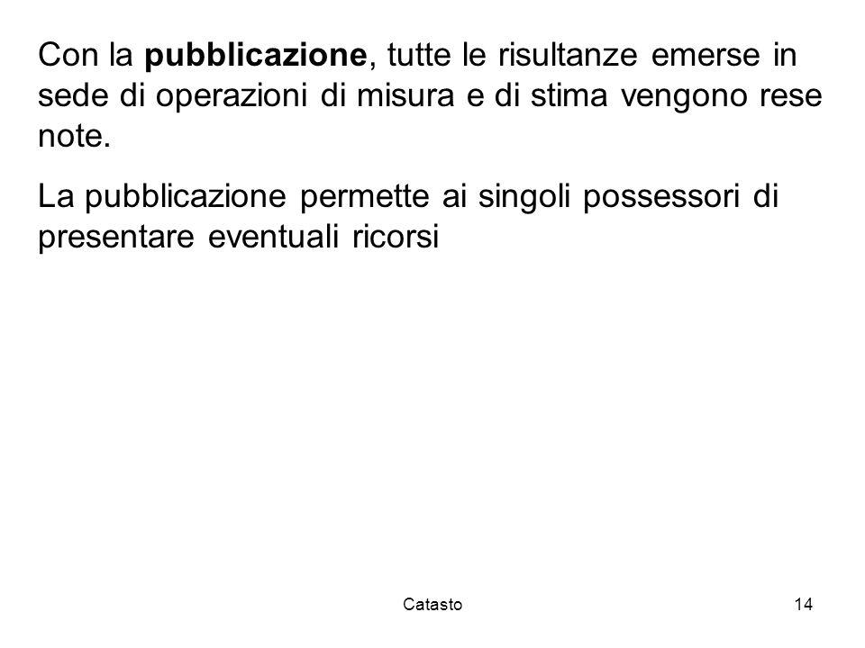 Con la pubblicazione, tutte le risultanze emerse in sede di operazioni di misura e di stima vengono rese note.