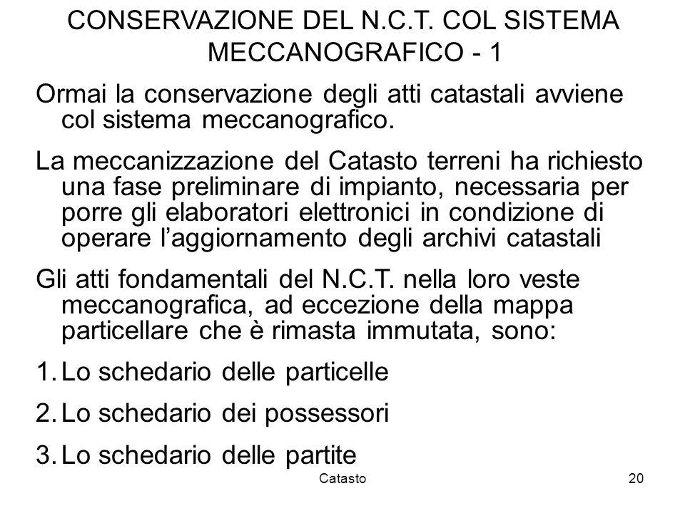 CONSERVAZIONE DEL N.C.T. COL SISTEMA MECCANOGRAFICO - 1