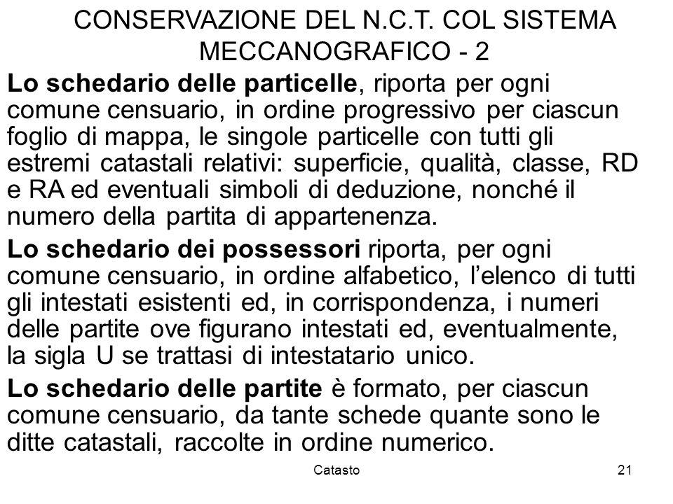 CONSERVAZIONE DEL N.C.T. COL SISTEMA MECCANOGRAFICO - 2