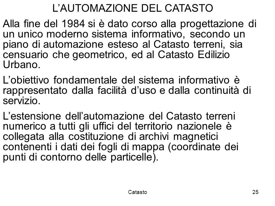 L'AUTOMAZIONE DEL CATASTO