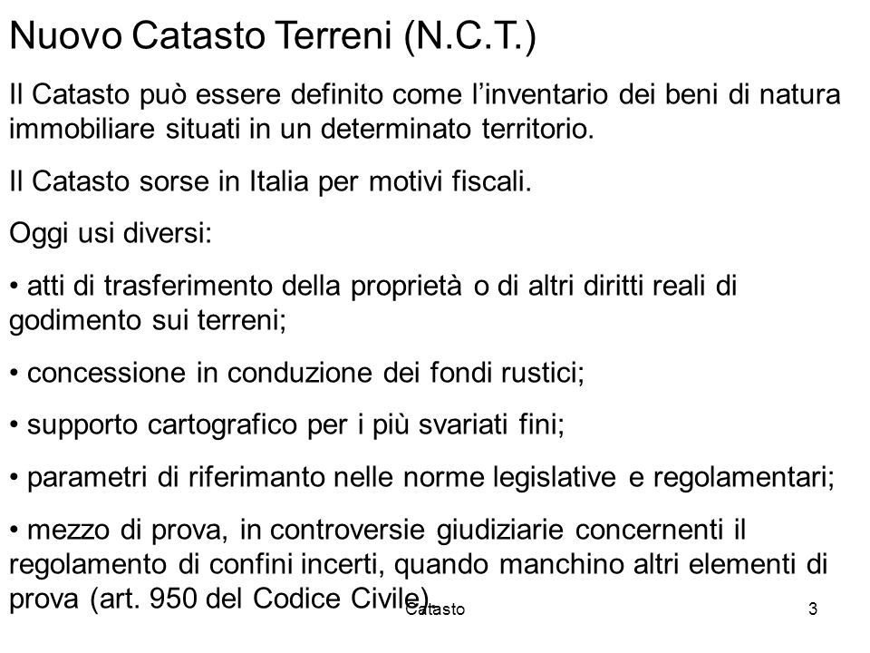 Nuovo Catasto Terreni (N.C.T.)