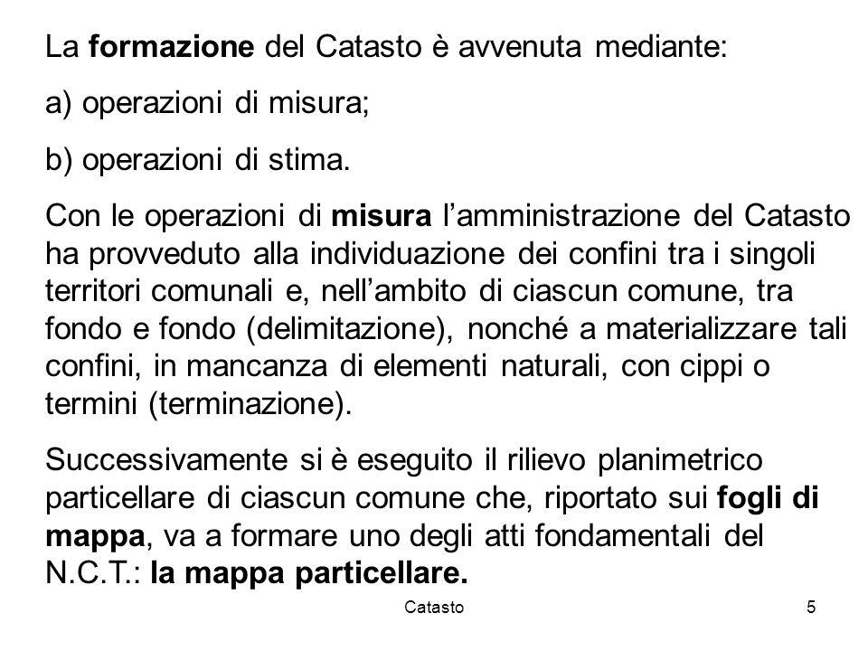 La formazione del Catasto è avvenuta mediante: operazioni di misura;