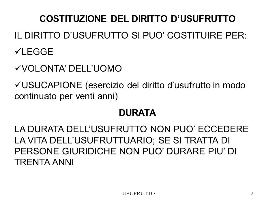 COSTITUZIONE DEL DIRITTO D'USUFRUTTO