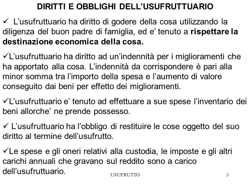 DIRITTI E OBBLIGHI DELL'USUFRUTTUARIO