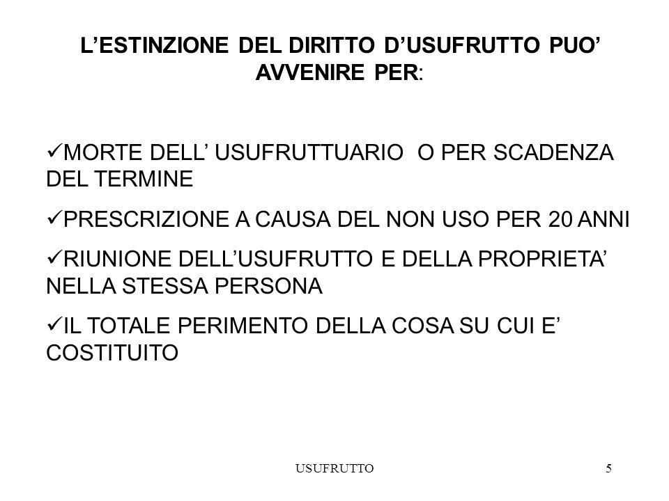 L'ESTINZIONE DEL DIRITTO D'USUFRUTTO PUO' AVVENIRE PER: