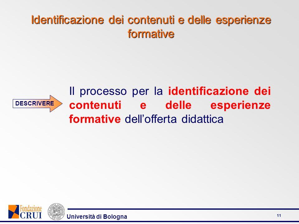 Identificazione dei contenuti e delle esperienze formative