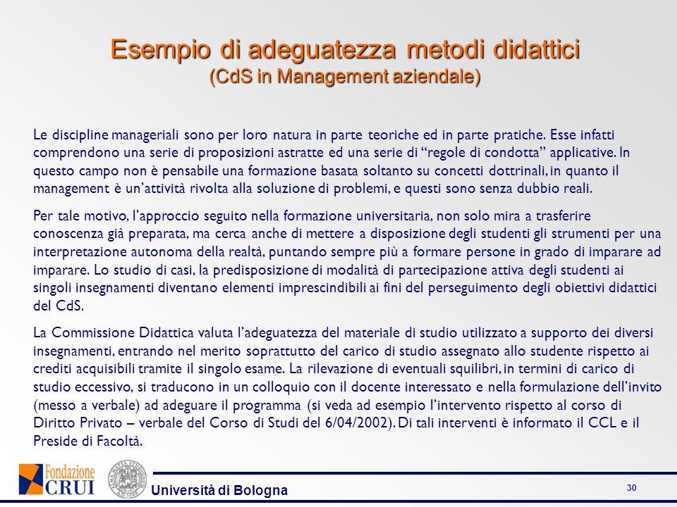 Esempio di adeguatezza metodi didattici (CdS in Management aziendale)