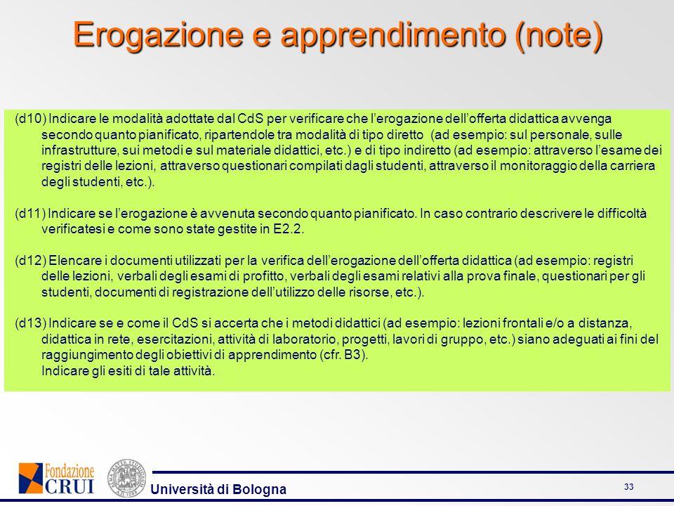 Erogazione e apprendimento (note)