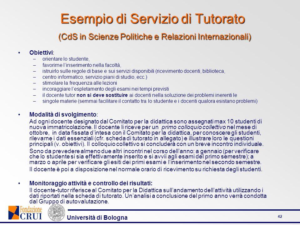 Esempio di Servizio di Tutorato (CdS in Scienze Politiche e Relazioni Internazionali)