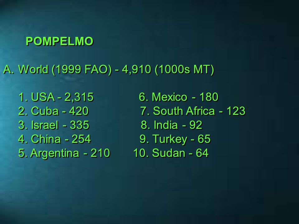POMPELMO World (1999 FAO) - 4,910 (1000s MT)