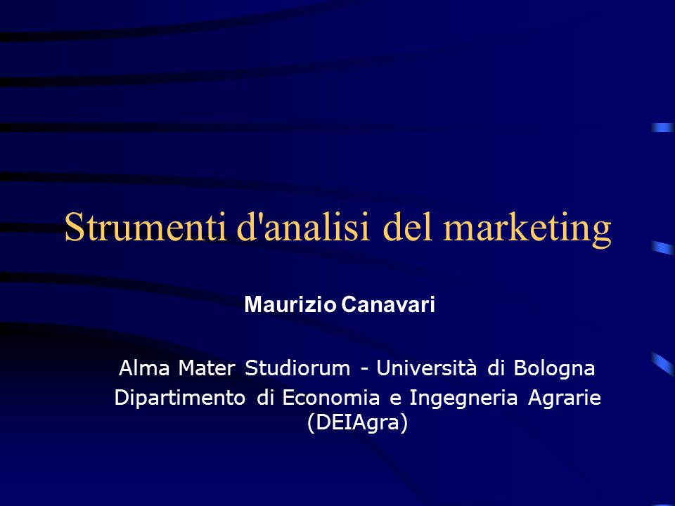 Strumenti d analisi del marketing