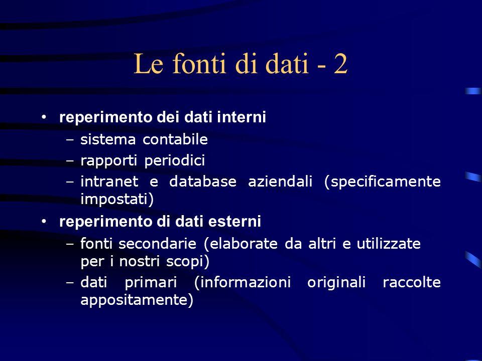 Le fonti di dati - 2 reperimento dei dati interni