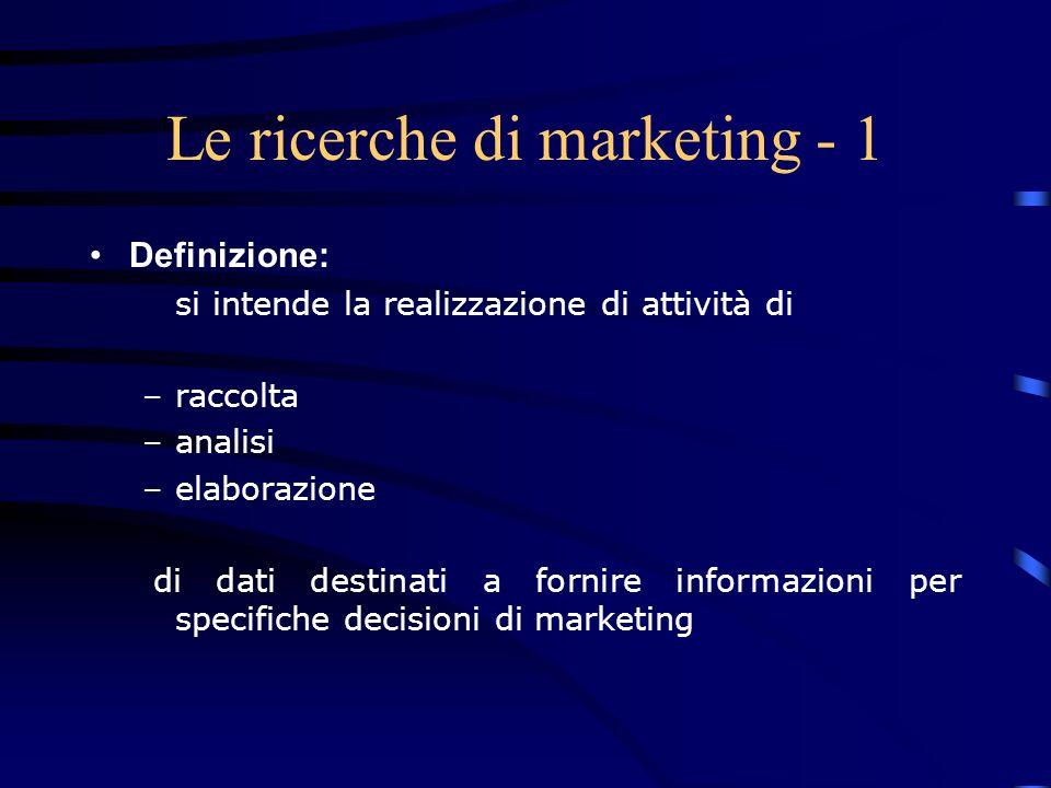 Le ricerche di marketing - 1