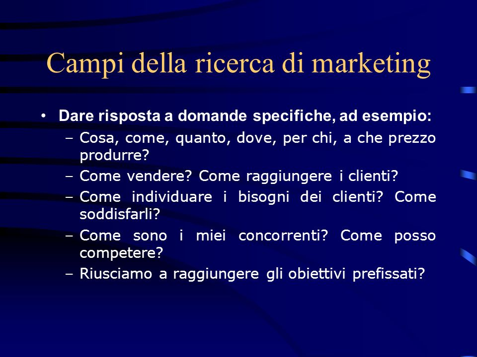 Campi della ricerca di marketing