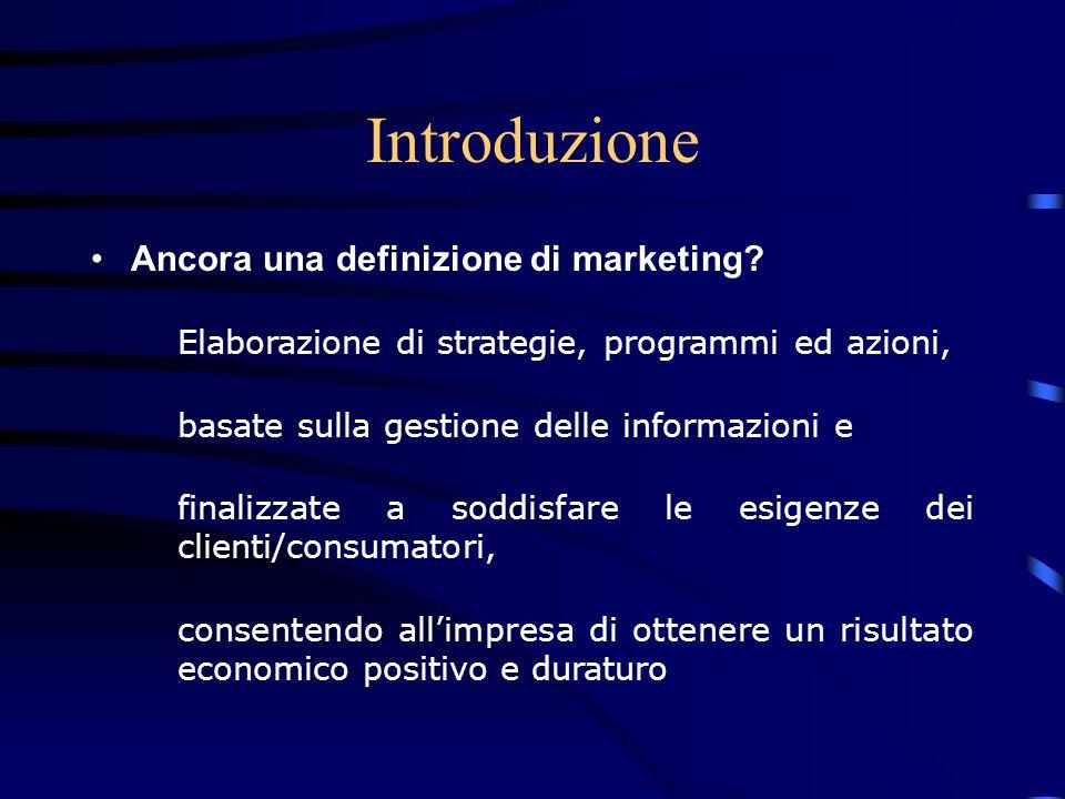 Introduzione Ancora una definizione di marketing