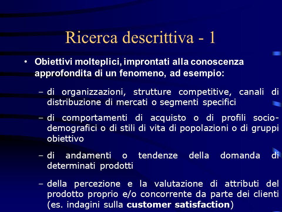 27/03/2017 Ricerca descrittiva - 1. Obiettivi molteplici, improntati alla conoscenza approfondita di un fenomeno, ad esempio: