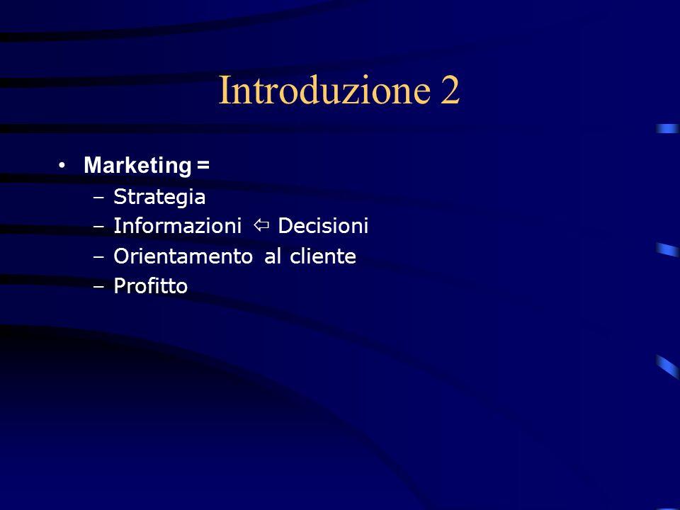 Introduzione 2 Marketing = Strategia Informazioni  Decisioni