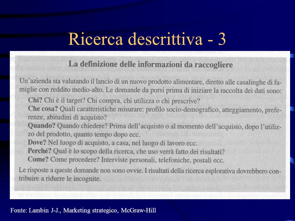27/03/2017 Ricerca descrittiva - 3 Fonte: Lambin J-J., Marketing strategico, McGraw-Hill
