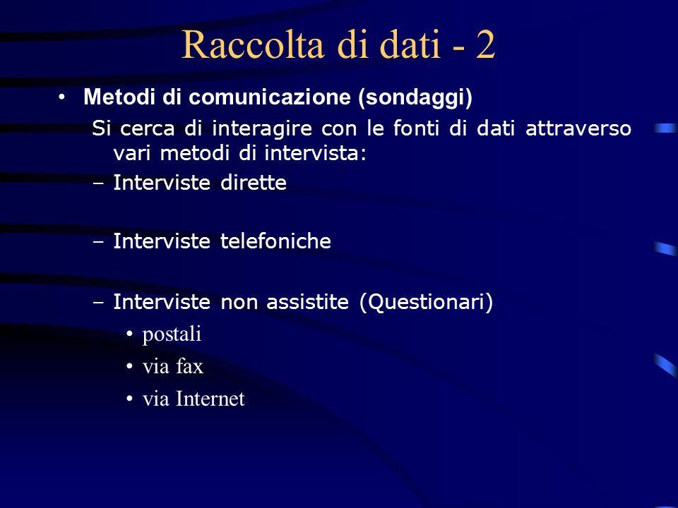 Raccolta di dati - 2 Metodi di comunicazione (sondaggi) postali
