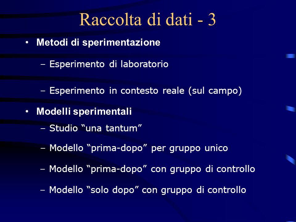 Raccolta di dati - 3 Metodi di sperimentazione Modelli sperimentali