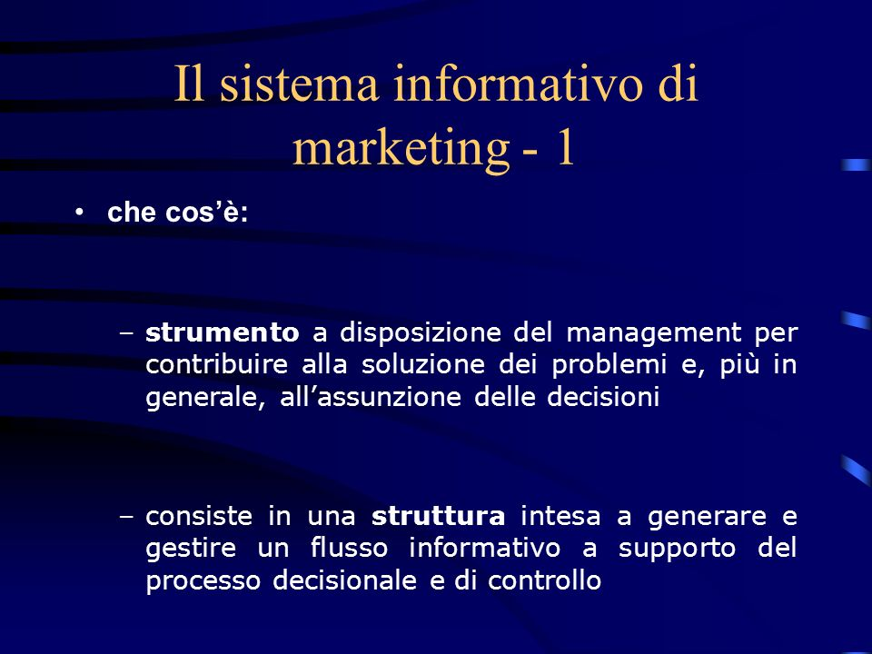 Il sistema informativo di marketing - 1