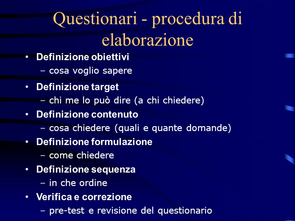 Questionari - procedura di elaborazione
