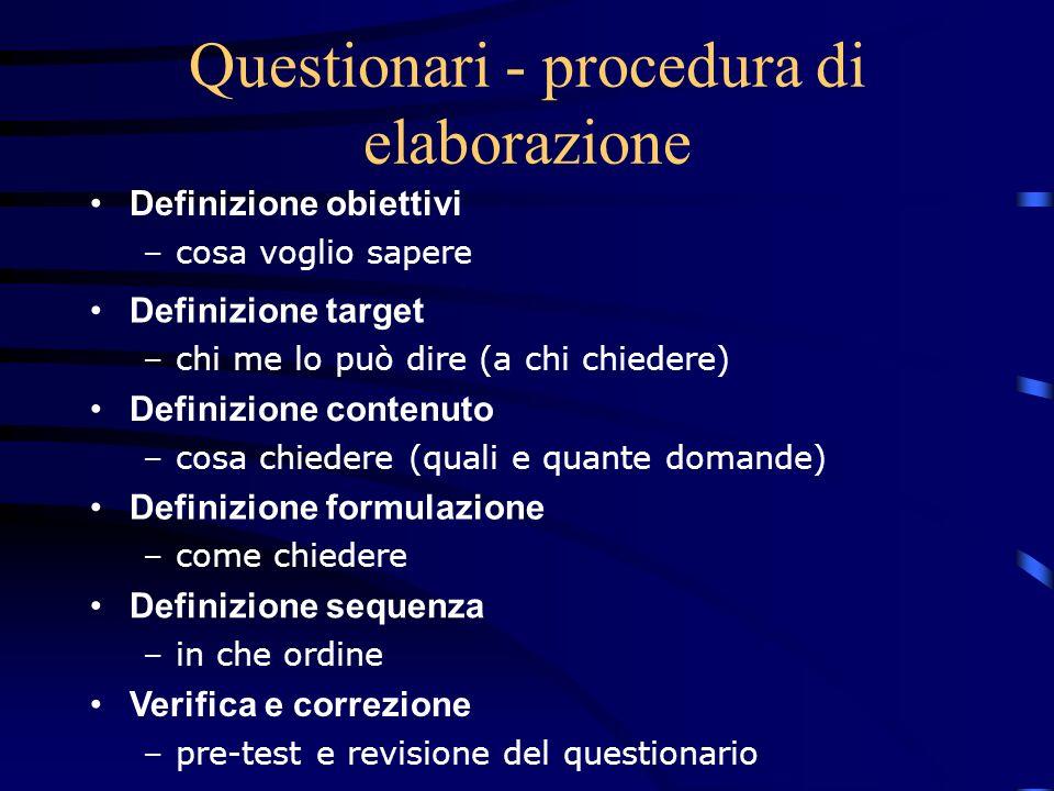 Questionari - procedura di elaborazione