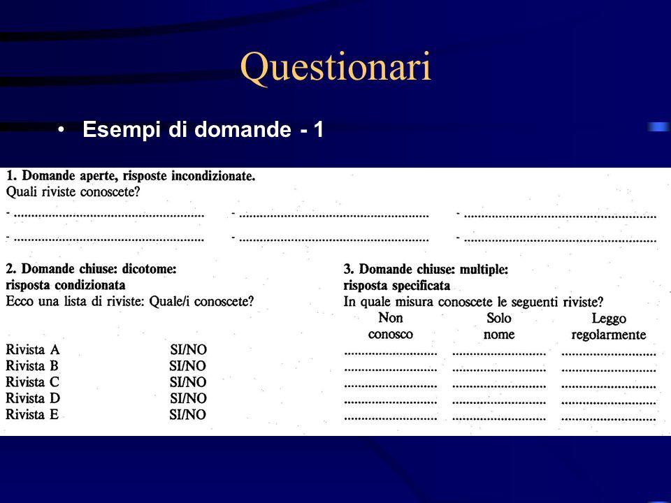 27/03/2017 Questionari Esempi di domande - 1