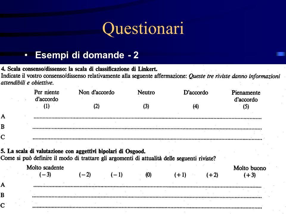 27/03/2017 Questionari Esempi di domande - 2