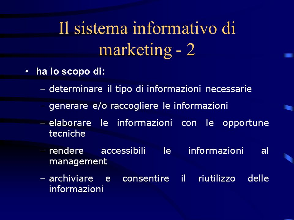 Il sistema informativo di marketing - 2