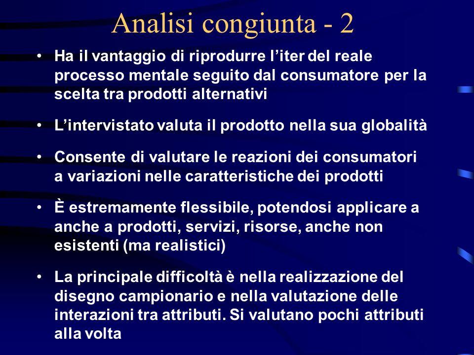 Analisi congiunta - 2 Ha il vantaggio di riprodurre l'iter del reale processo mentale seguito dal consumatore per la scelta tra prodotti alternativi.