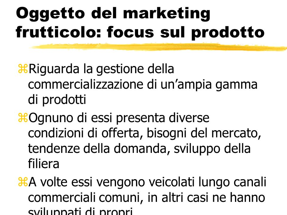 Oggetto del marketing frutticolo: focus sul prodotto