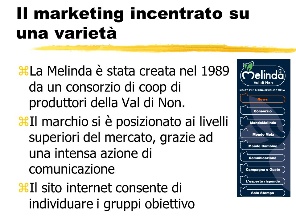 Il marketing incentrato su una varietà