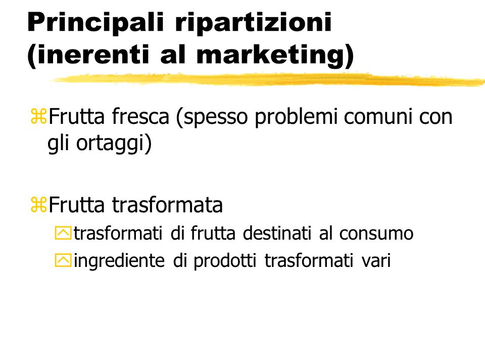 Principali ripartizioni (inerenti al marketing)