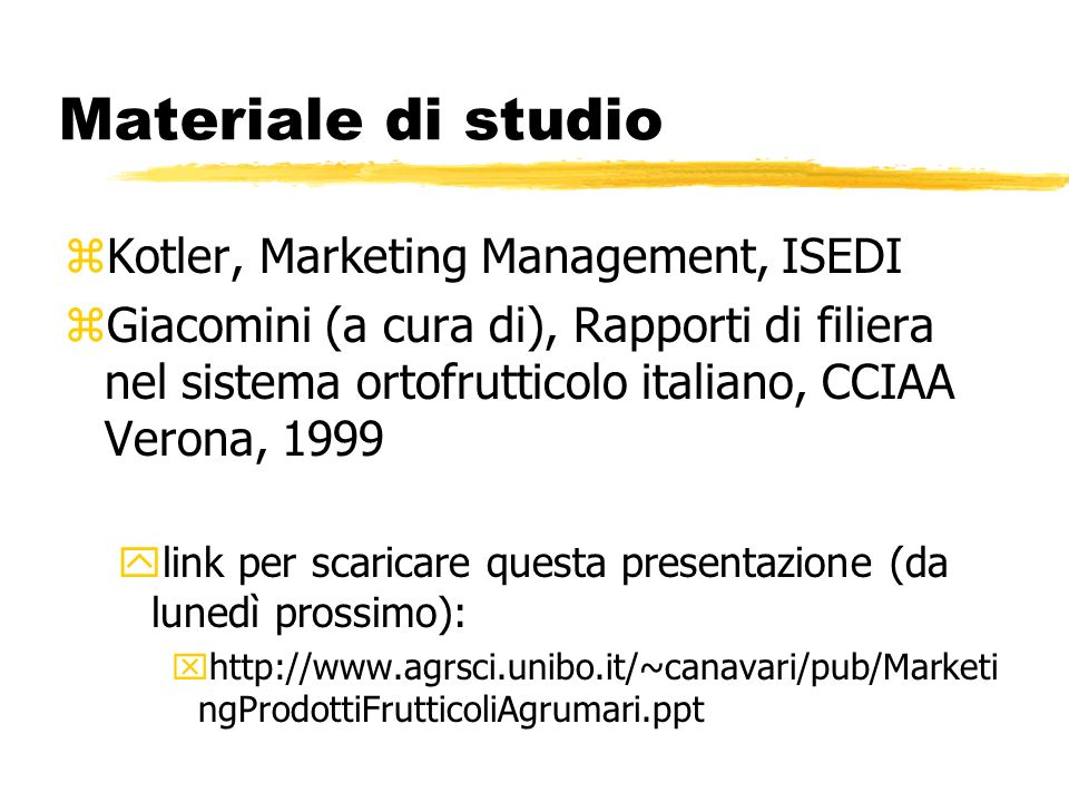 Materiale di studio Kotler, Marketing Management, ISEDI