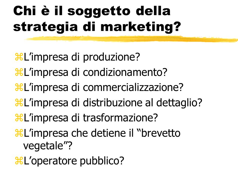 Chi è il soggetto della strategia di marketing