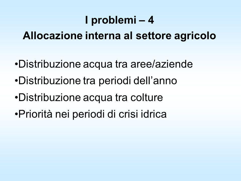Allocazione interna al settore agricolo