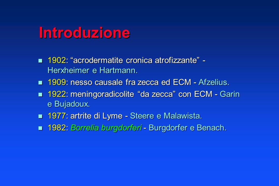 Introduzione 1902: acrodermatite cronica atrofizzante - Herxheimer e Hartmann. 1909: nesso causale fra zecca ed ECM - Afzelius.