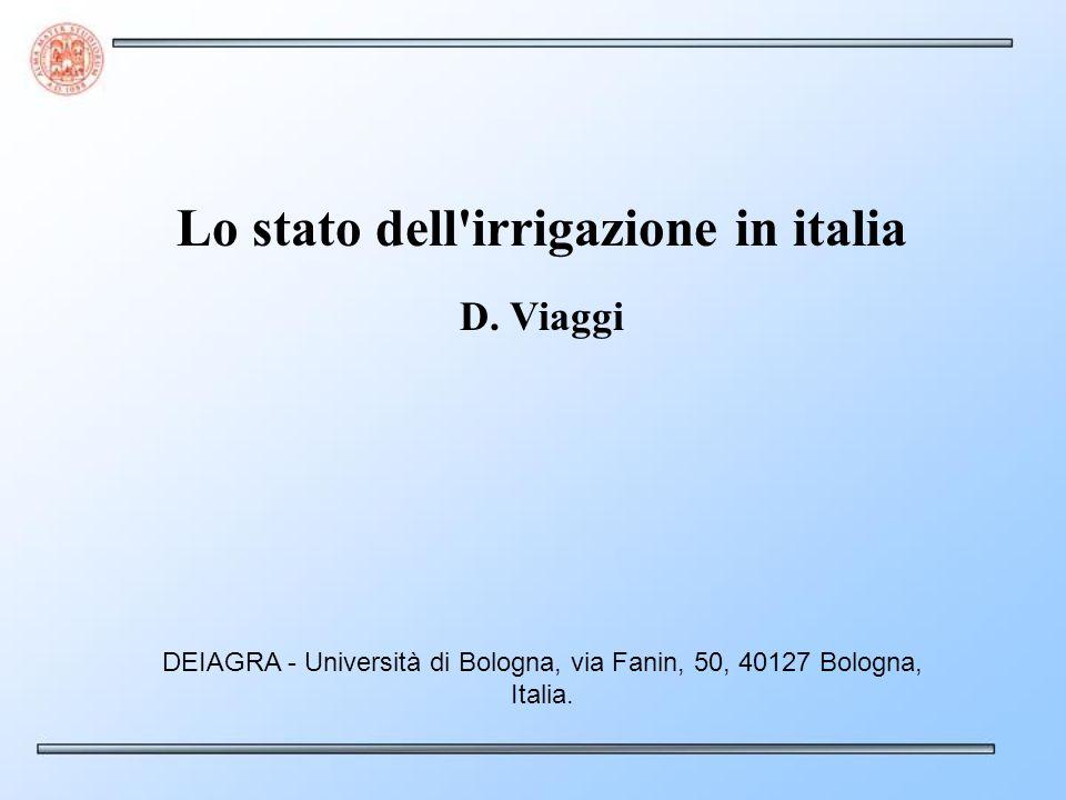 Lo stato dell irrigazione in italia