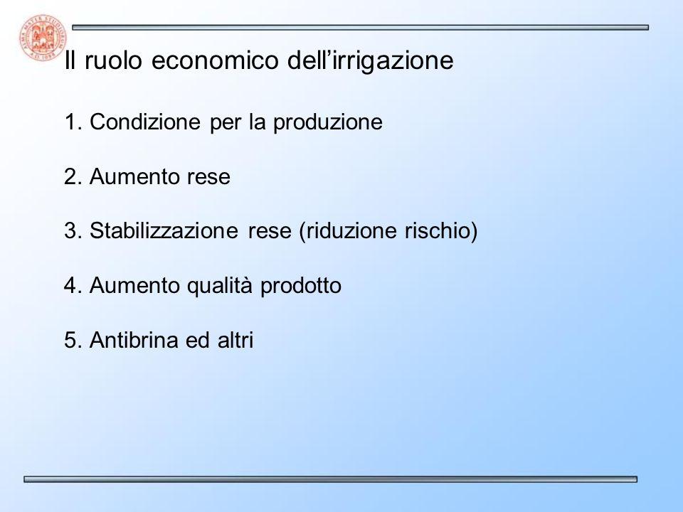 Il ruolo economico dell'irrigazione