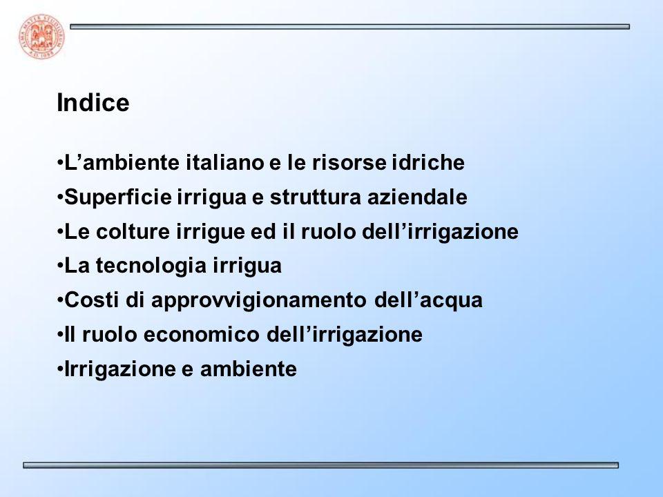 Indice L'ambiente italiano e le risorse idriche